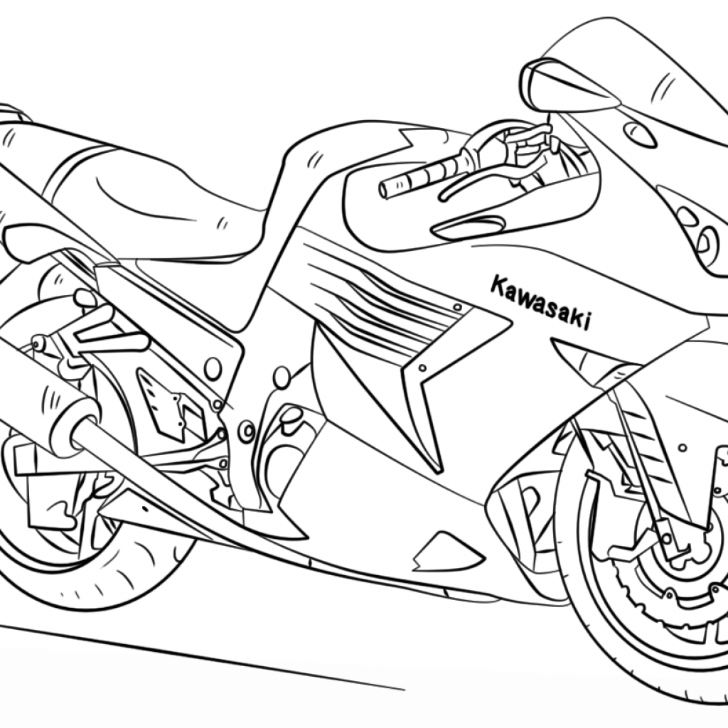 Santa On A Motorcycle Coloring Page With Kawasaki Free Printable Pages