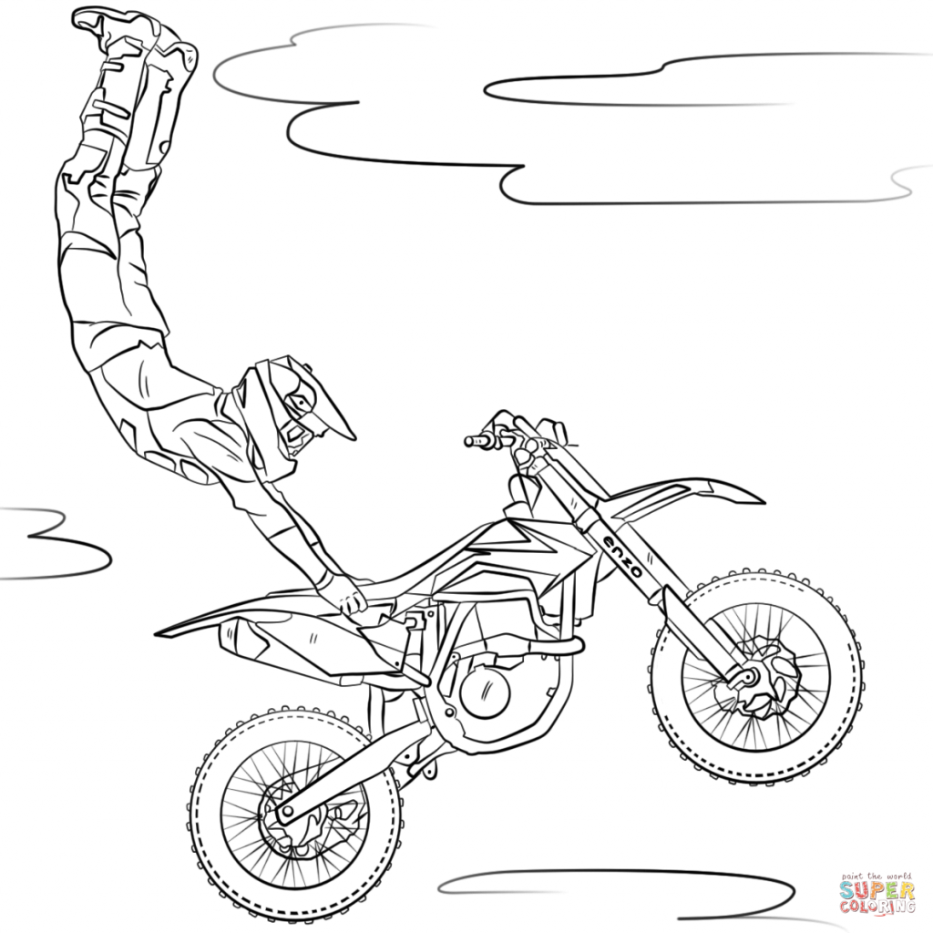 Santa On A Motorcycle Coloring Page With Motorcycles Pages Free