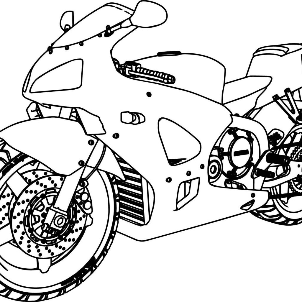 Santa On A Motorcycle Coloring Page With Pages To Print