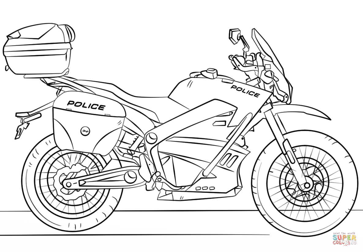 Santa On A Motorcycle Coloring Page With Police Free Printable Pages