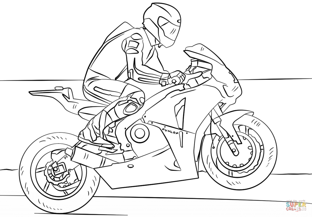 Santa On A Motorcycle Coloring Page With Racing Free Printable Pages