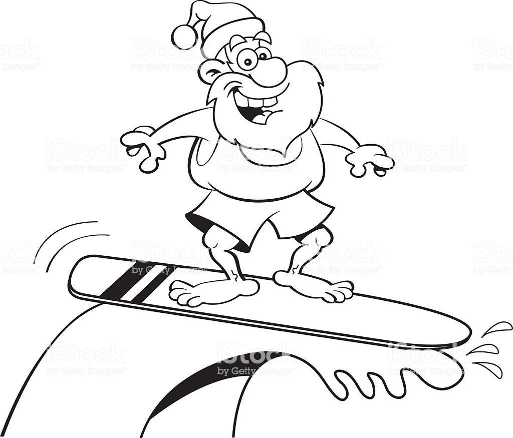 Santa On A Surfboard Coloring Page With Cartoon Claus Riding Stock Vector Art More