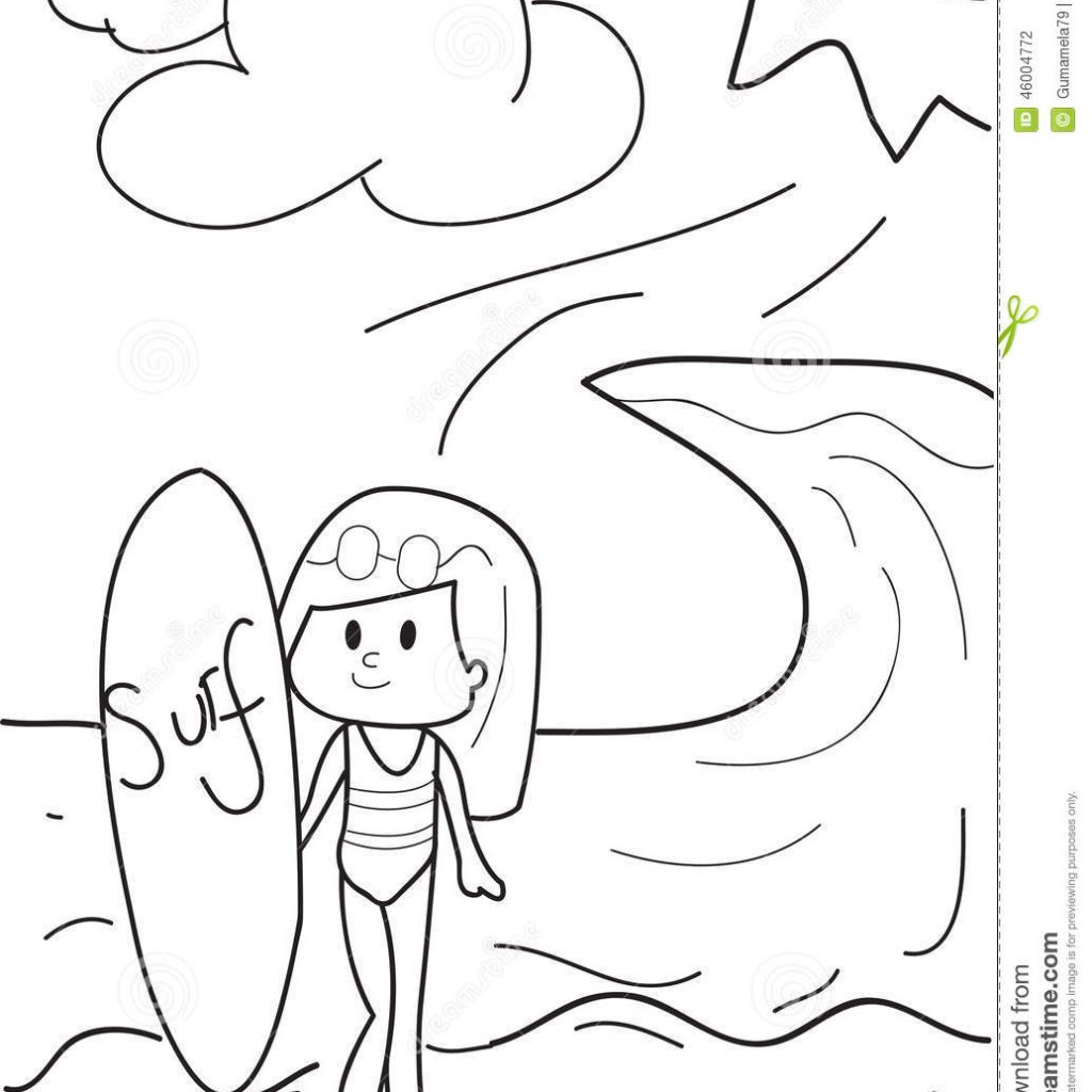 Santa On A Surfboard Coloring Page With Pages