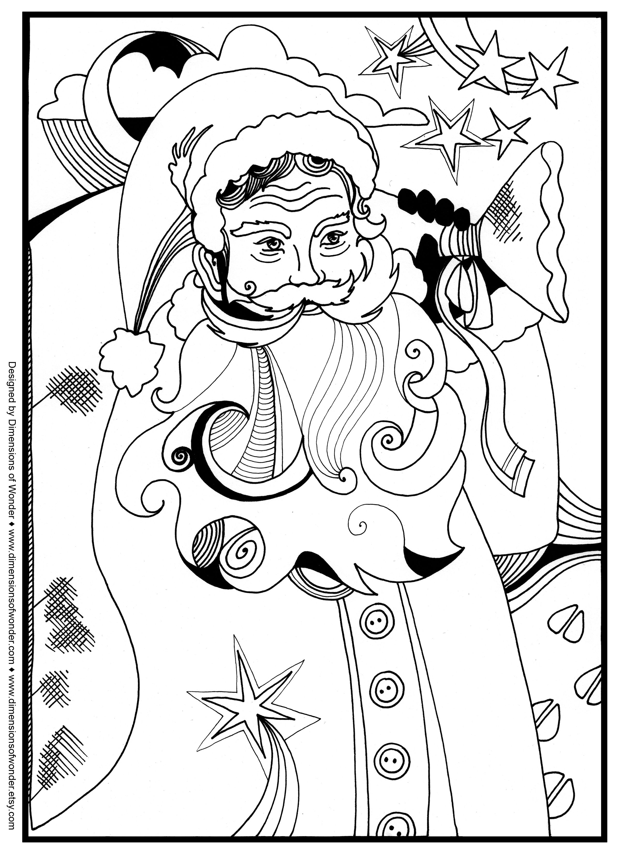 Santa On Rooftop Coloring Page With Christmas Around The World Pages Kidsfreecoloring Net