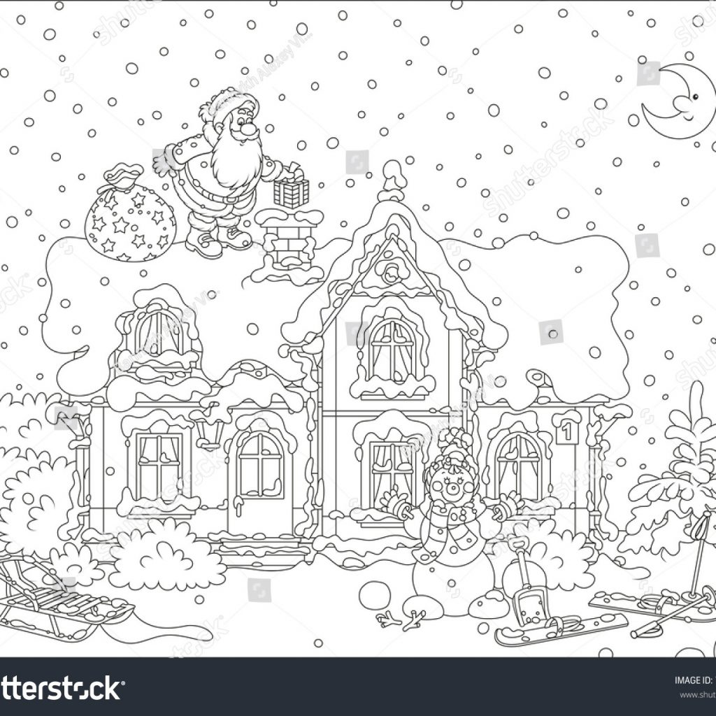 Santa On Rooftop Coloring Page With Claus Christmas Gifts A Snow Covered Of