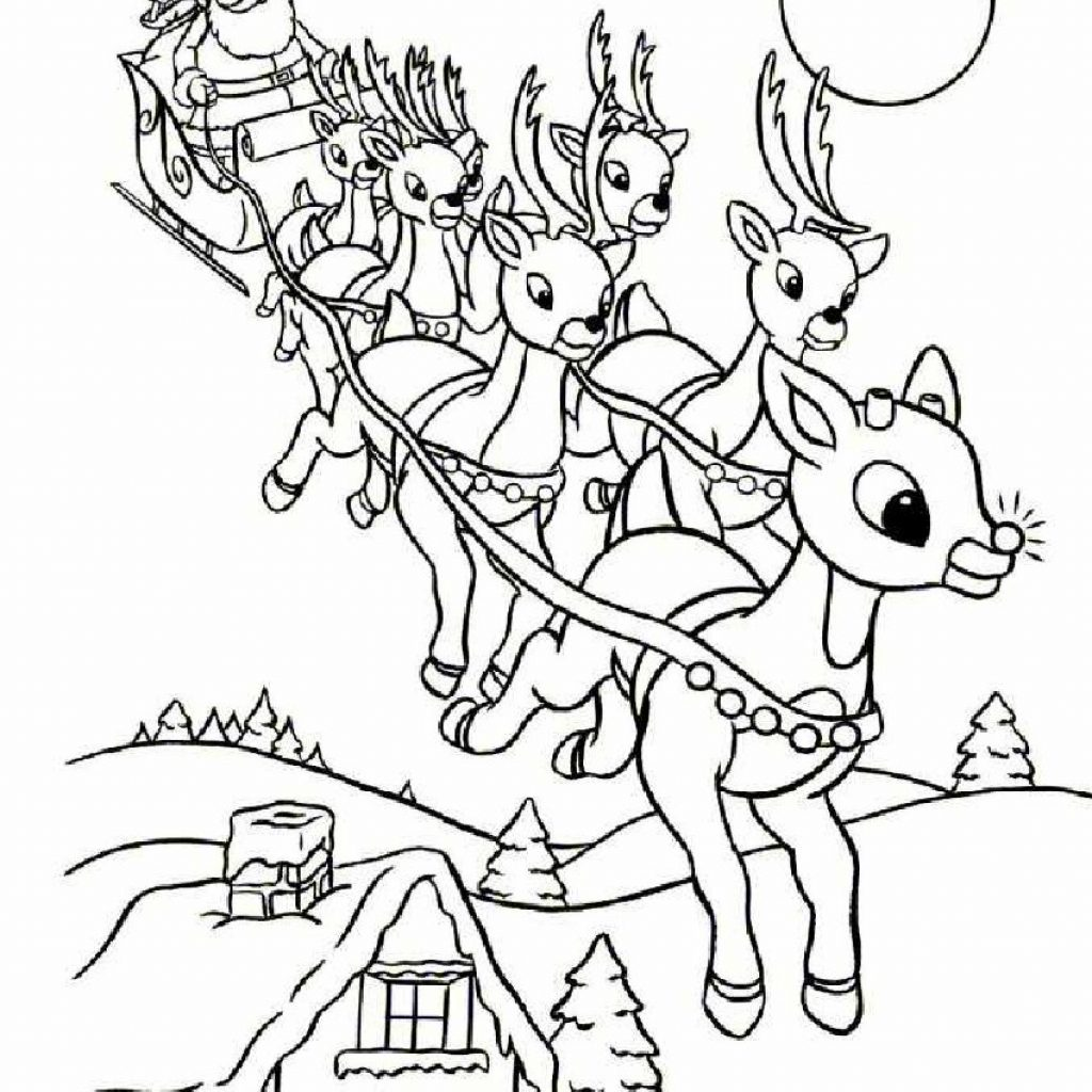 Santa On Rooftop Coloring Page With Claus Sleigh Pages