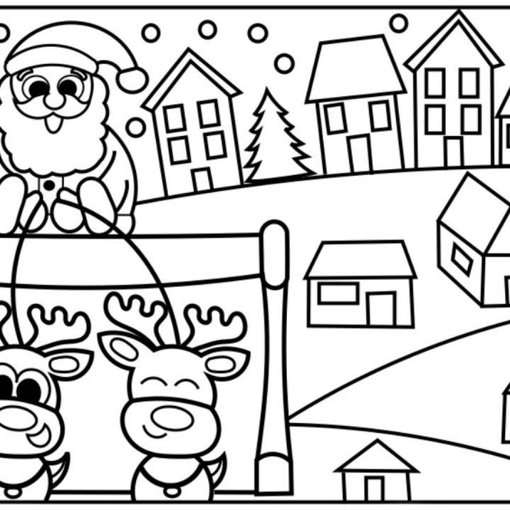 Santa On Rooftop Coloring Page With How To Draw Claus Coming Town Step By For Kids