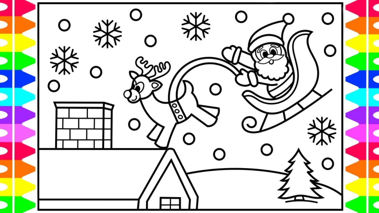Santa On Rooftop Coloring Page With How To Draw The Claus Sleigh