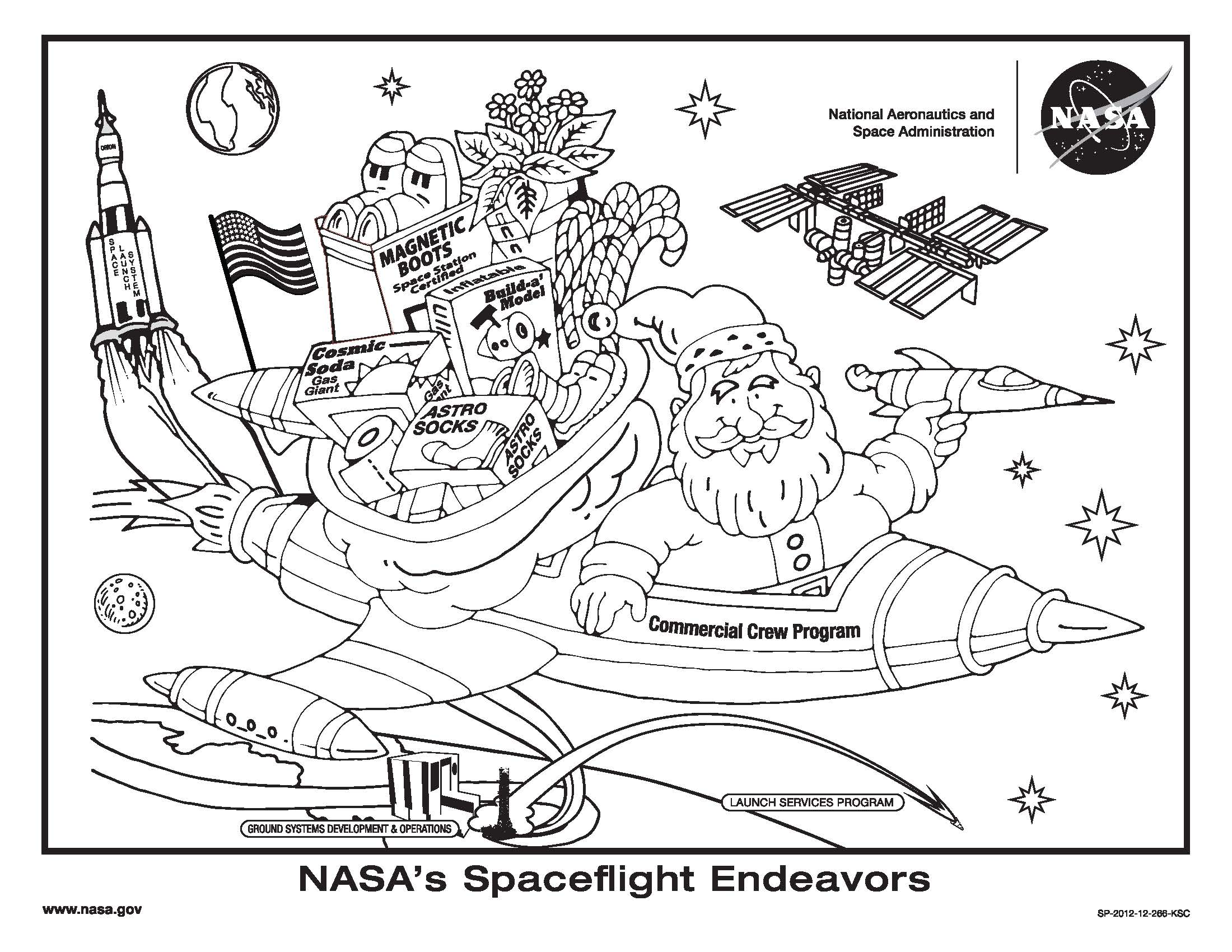 Santa On Rooftop Coloring Page With NASA Kennedy Space Center Standby To Support S Toy Delivery