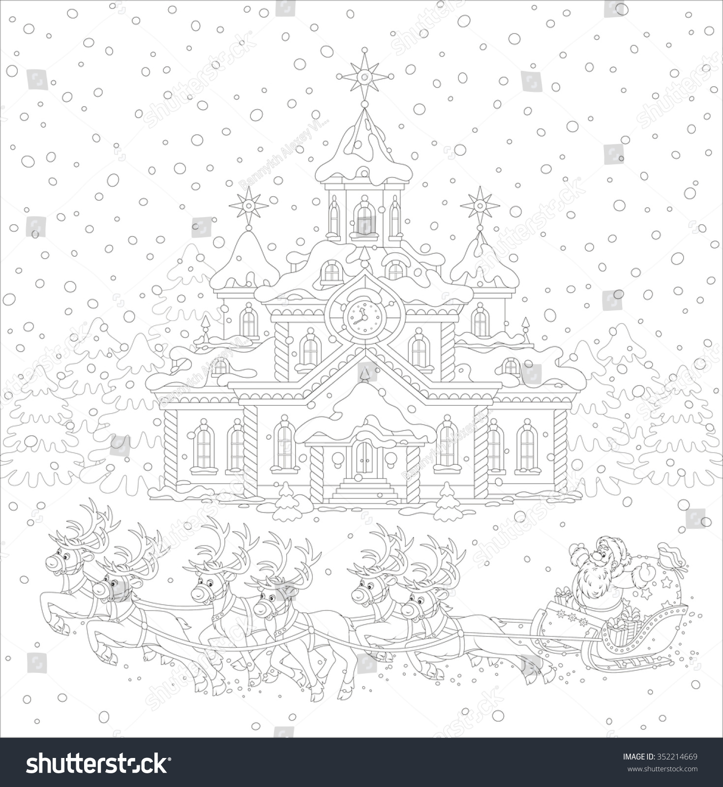 Santa On Rooftop Coloring Page With The Night Before Christmas Claus Gifts In A House His