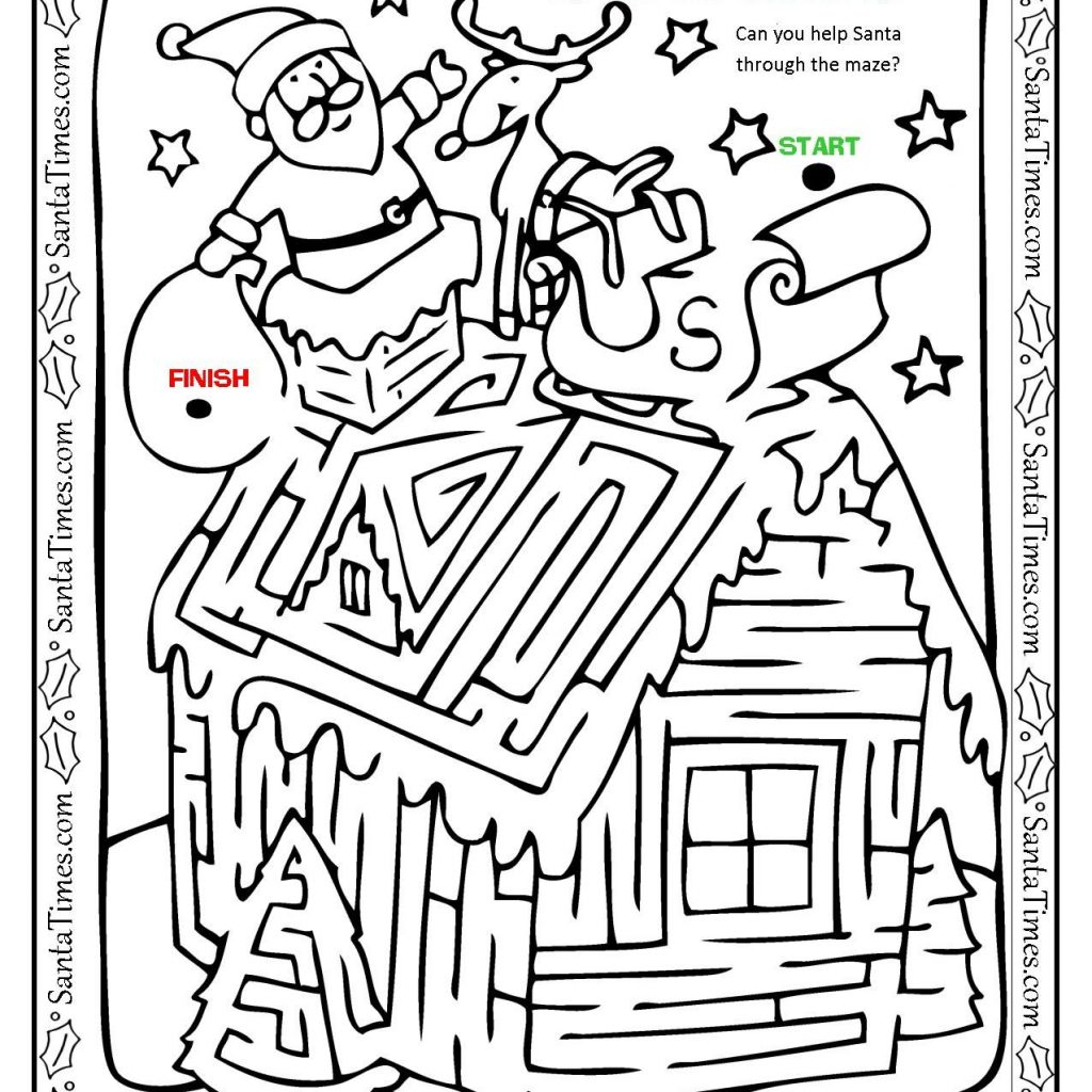 Santa On Rooftop Coloring Page With Up The Maze And Christmas