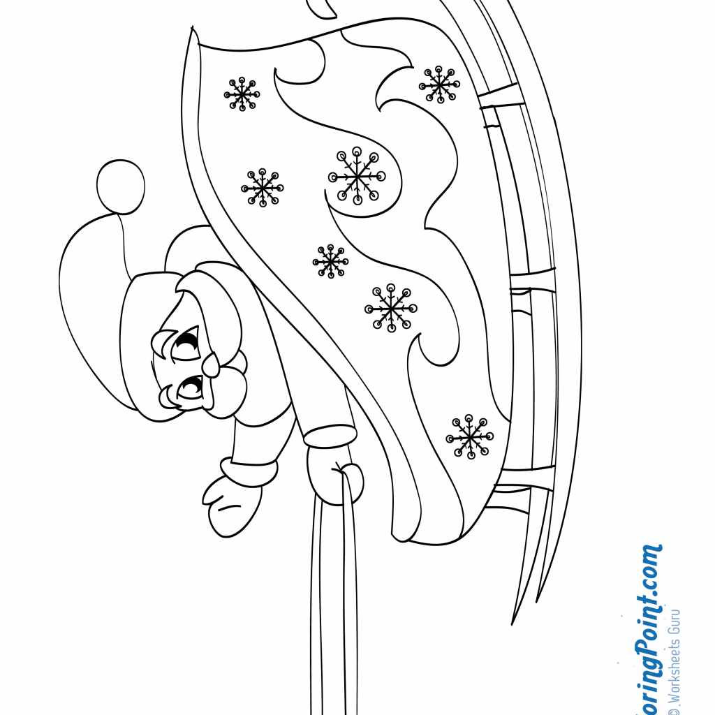 Santa On Sleigh Coloring Page With Claus His There Is A New