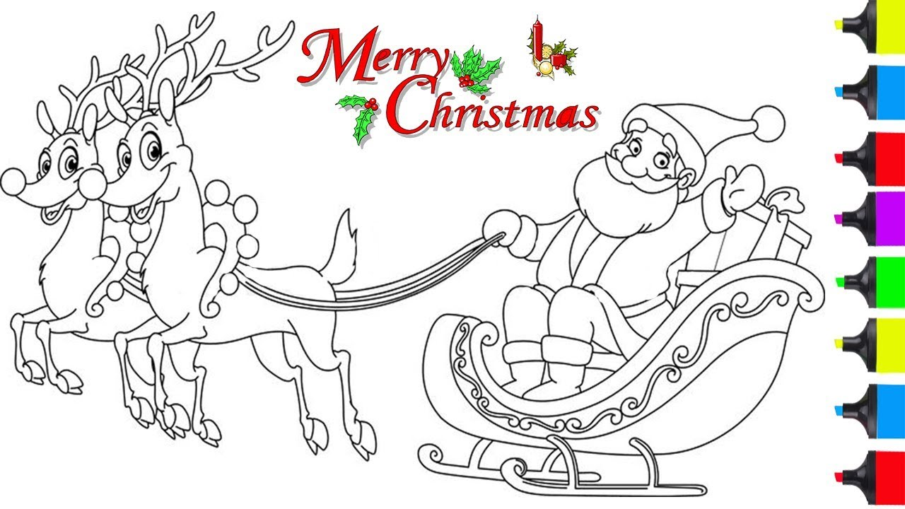 Santa On Sleigh Coloring Page With HOW TO DRAW SANTA CLAUSE ON SLEIGH COLORING PAGES For KIDS LEARN ART EASY