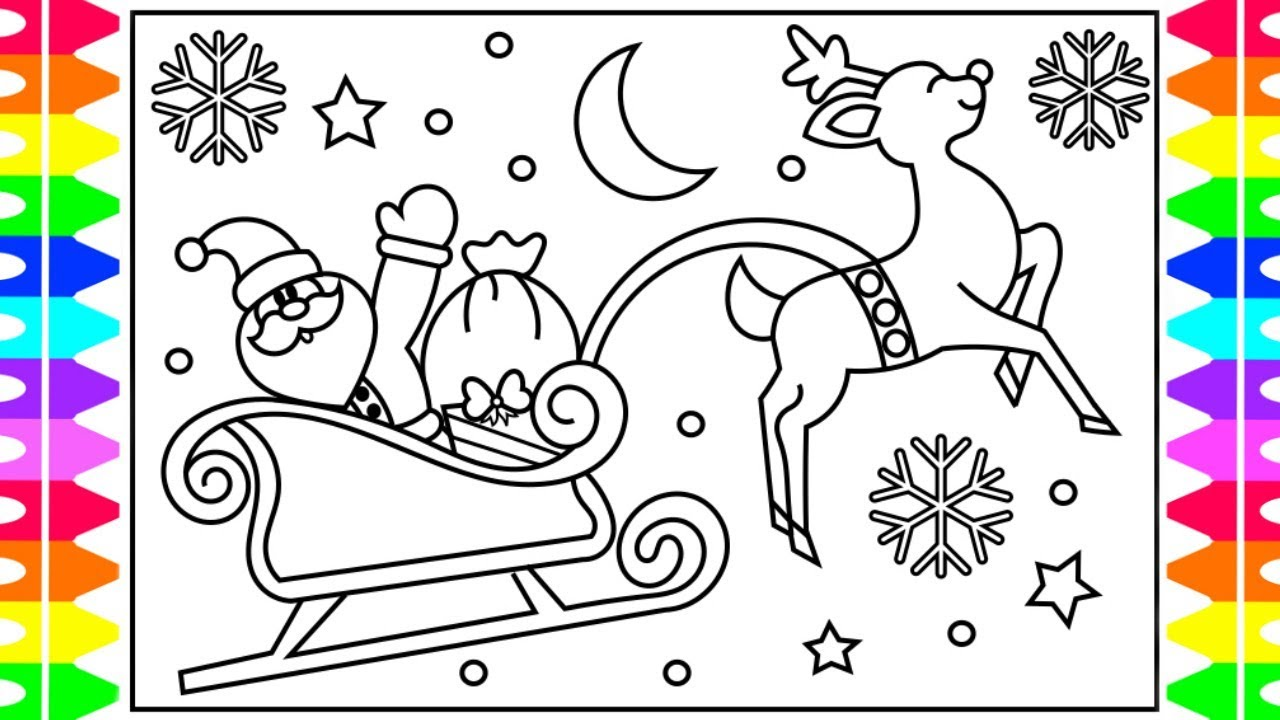 Santa On Sleigh Coloring Page With How To Draw SANTA S SLEIGH Step By For Kids Claus Christmas
