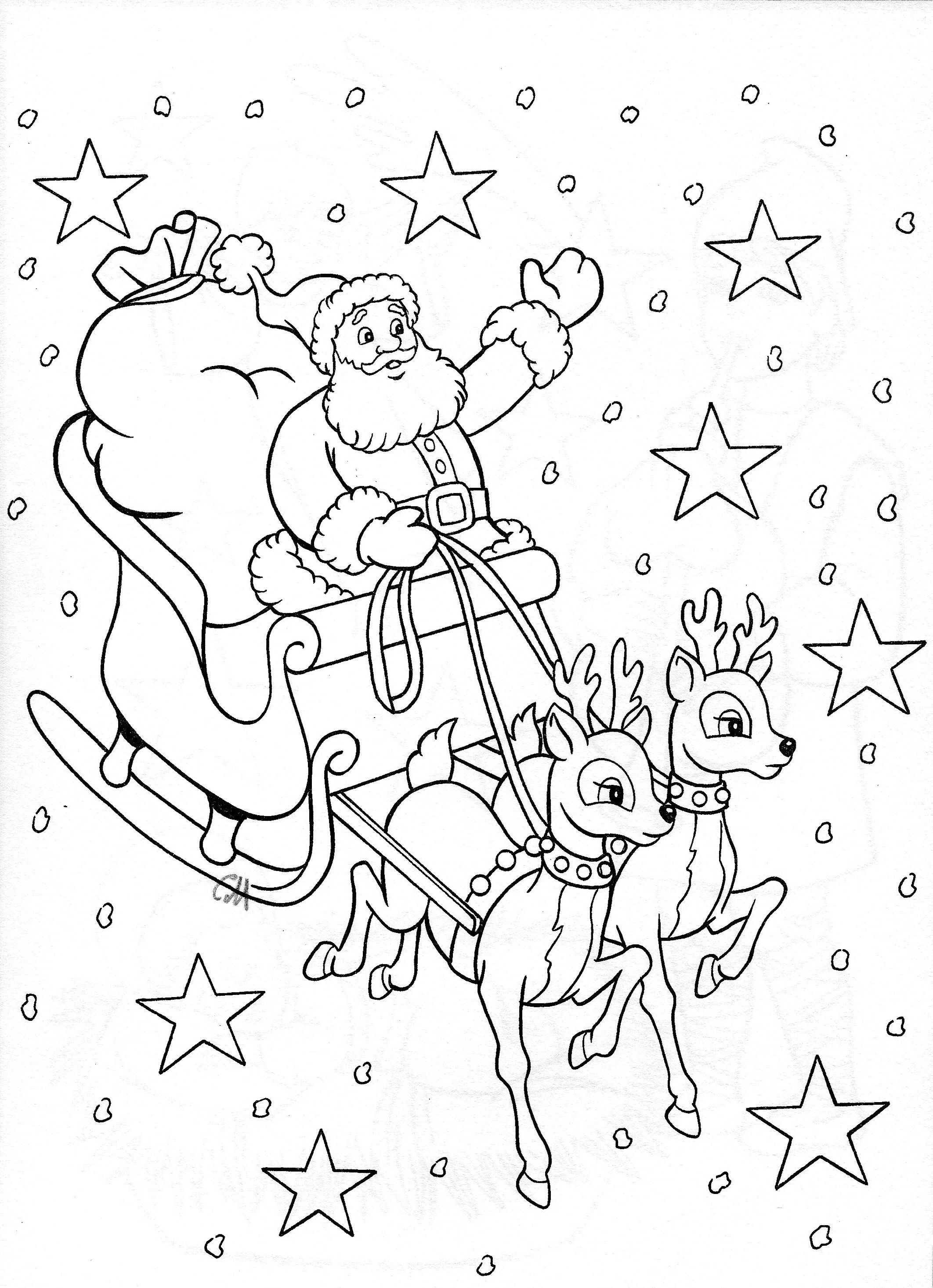Santa On Sleigh Coloring Page With Perhaps For Stocking Desenhos De Natal