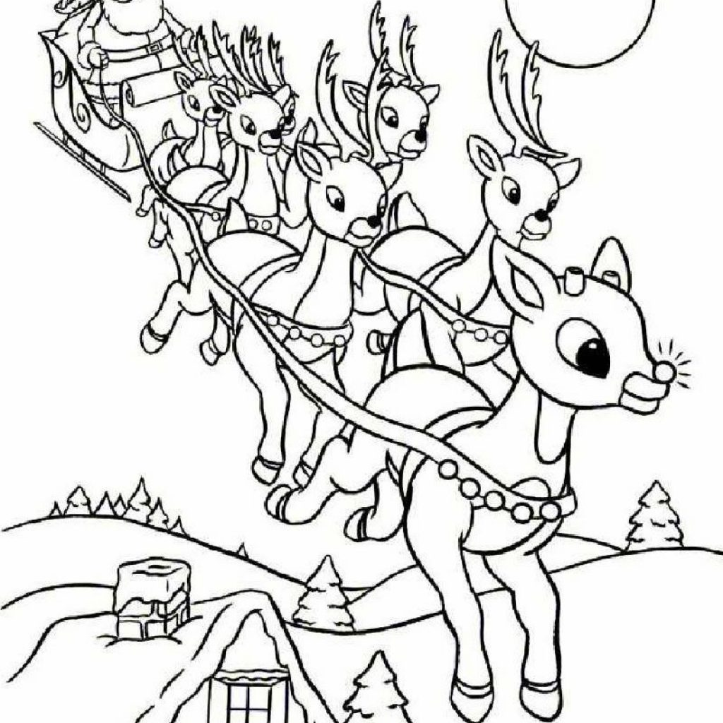 Santa On Sleigh Coloring Page With Rudolph And Christmas Pinterest