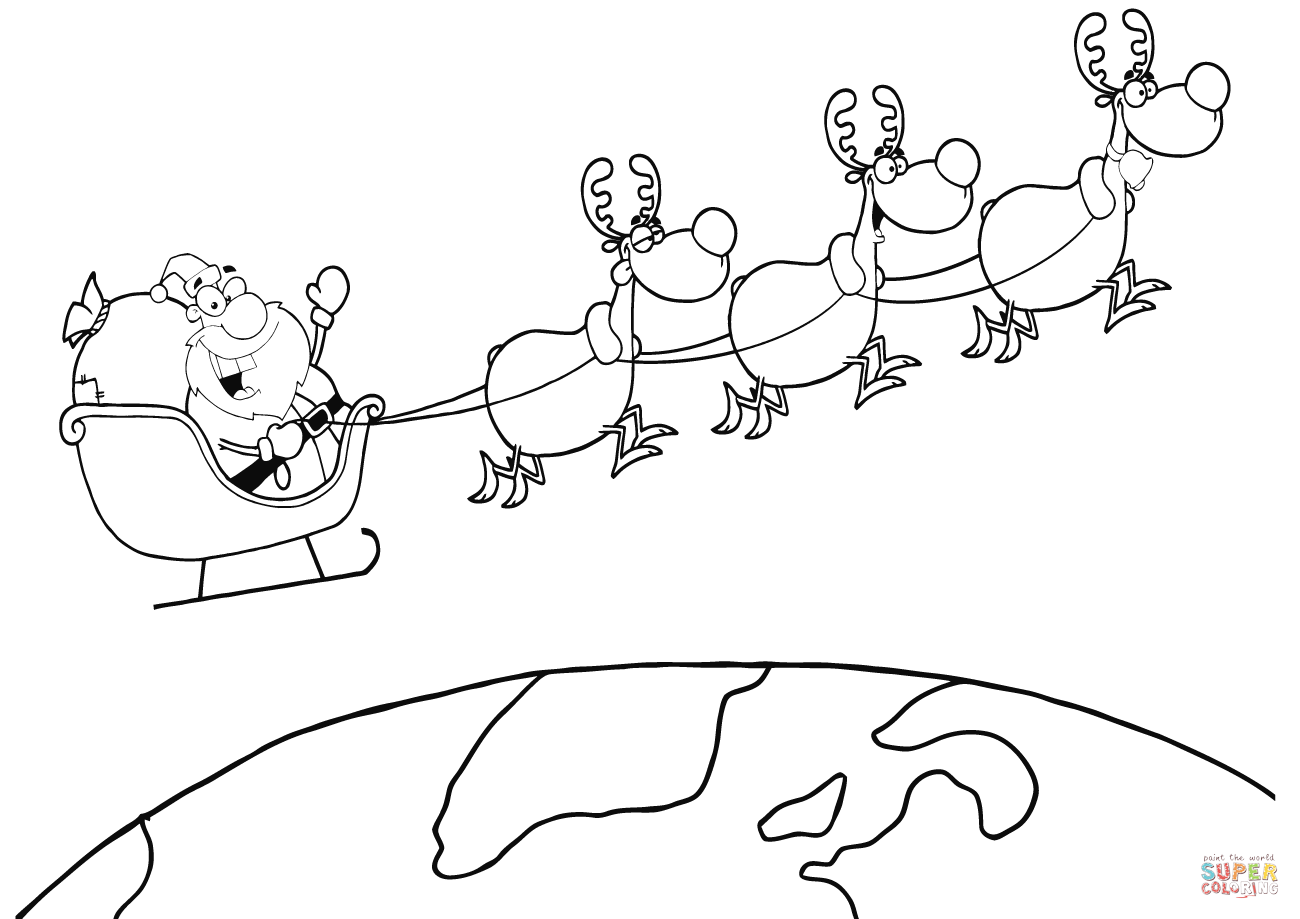 Santa On Sleigh Coloring Page With Team Of Reindeer And In His Flying Above The Earth