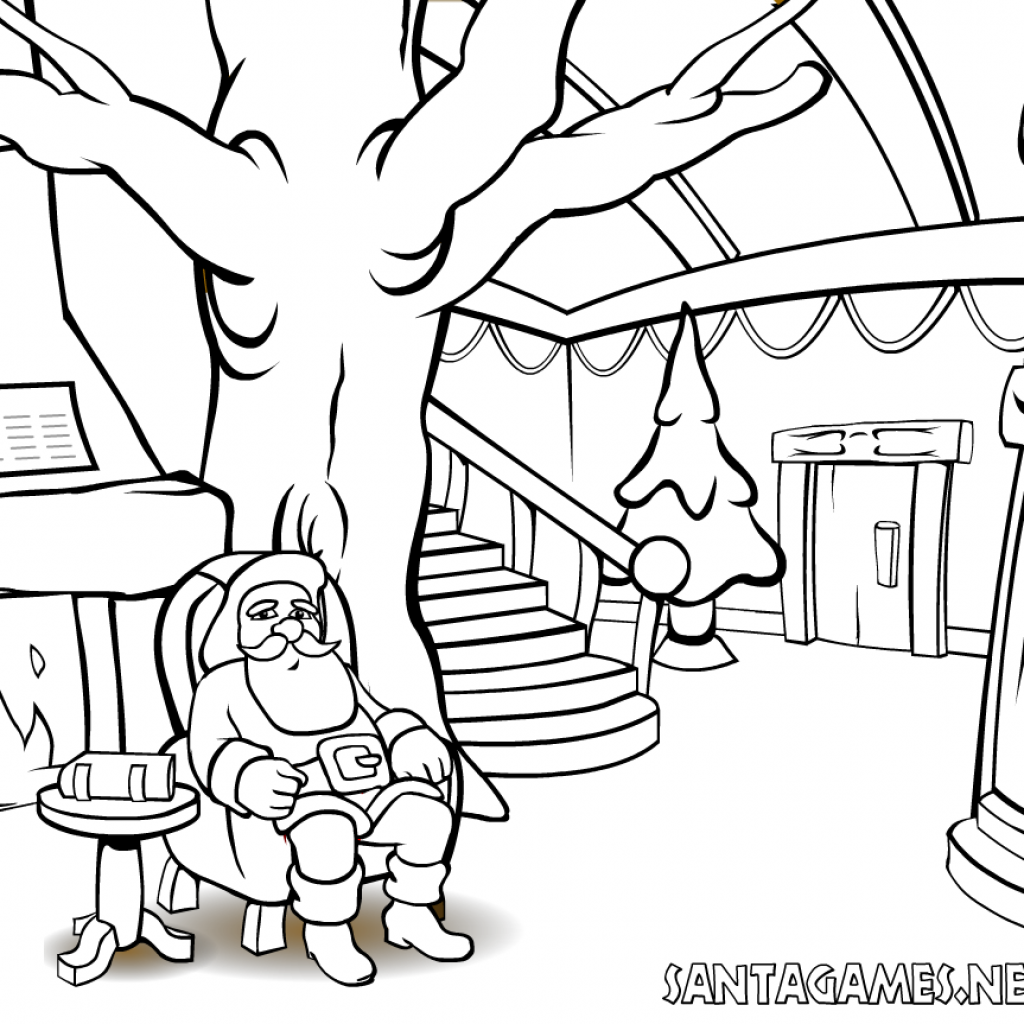 Santa Online Coloring Pages With Christmas Claus In Front Of The Fire