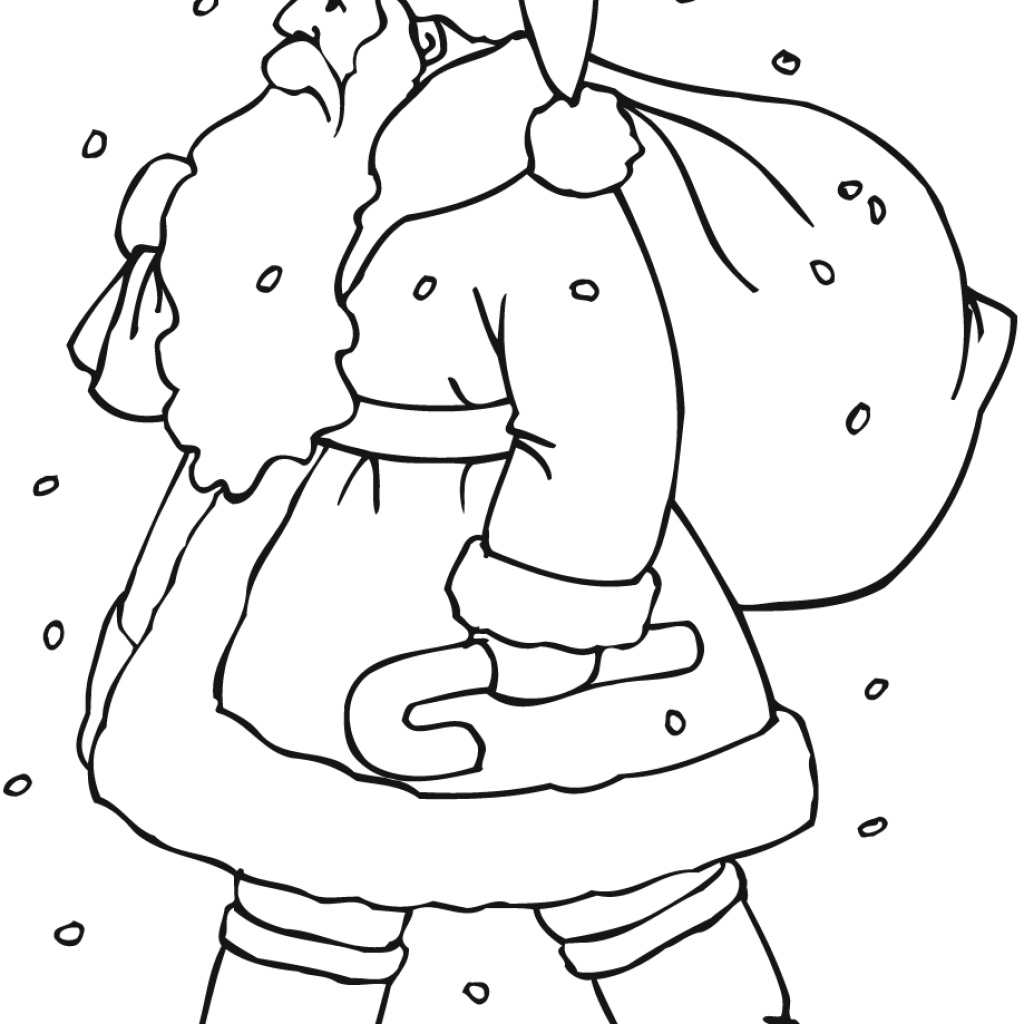 Santa Online Coloring Pages With Claus Gift Bag Page Free Printable