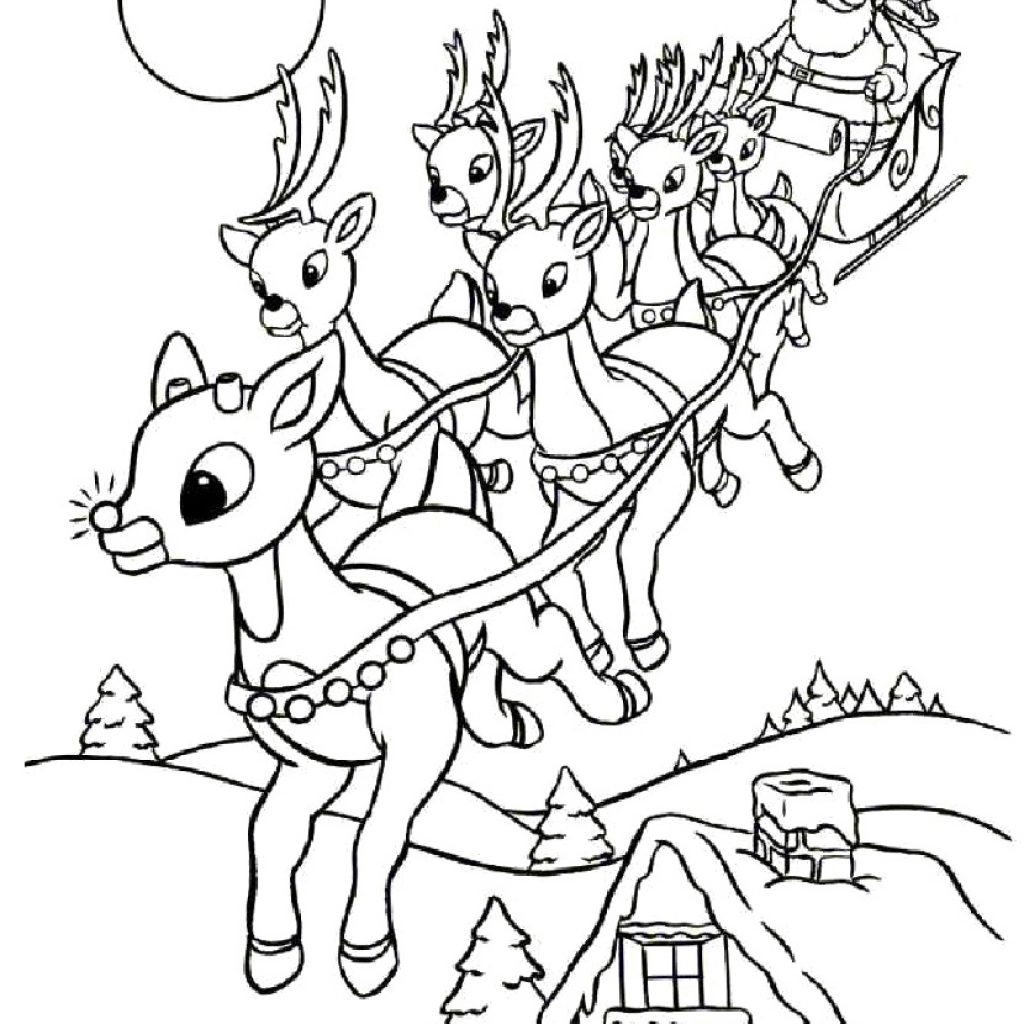 Santa Reindeer Coloring Pages Printable With Christmas Page Free Within