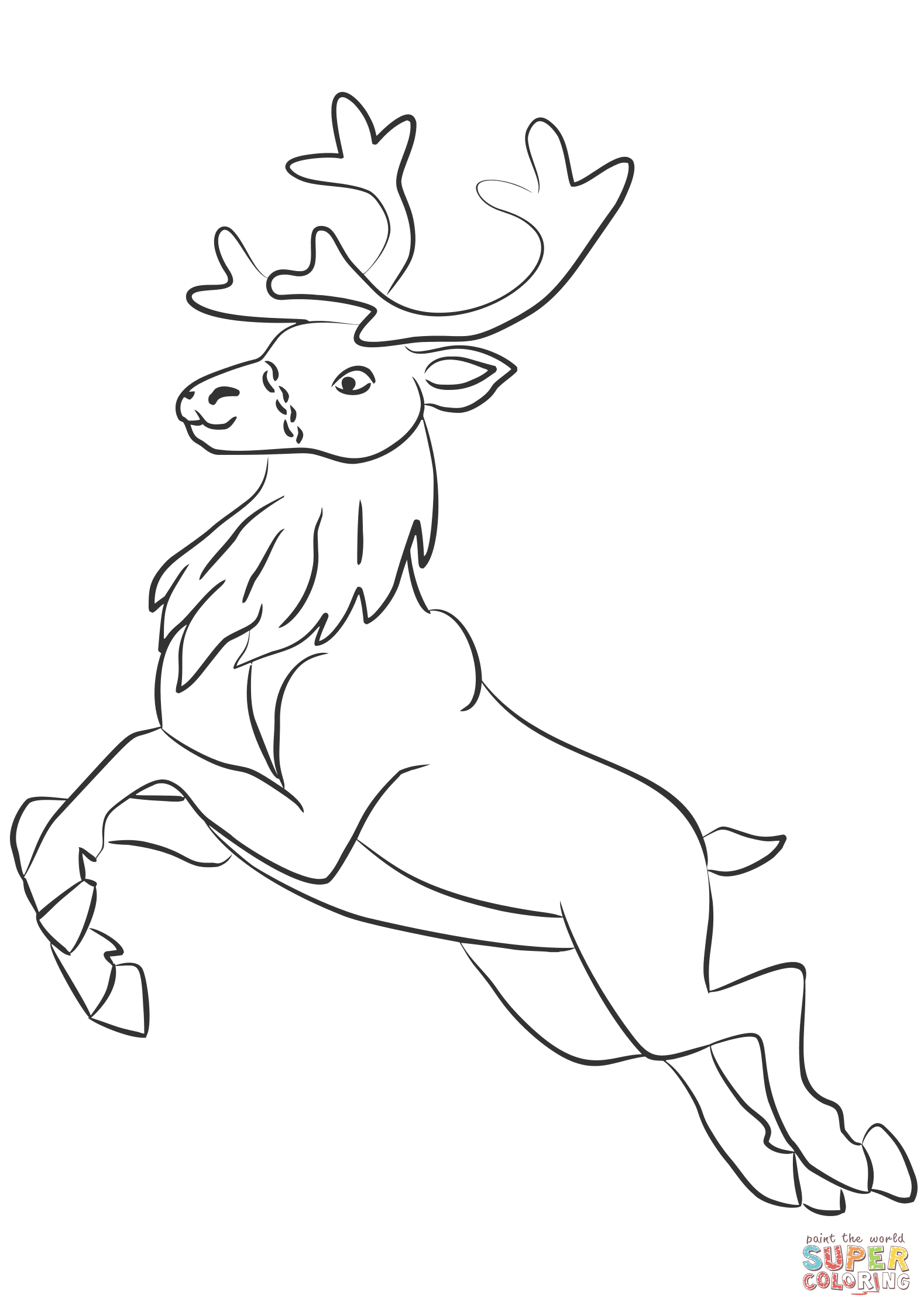 Santa Reindeer Coloring Pages Printable With Claus S Page Free