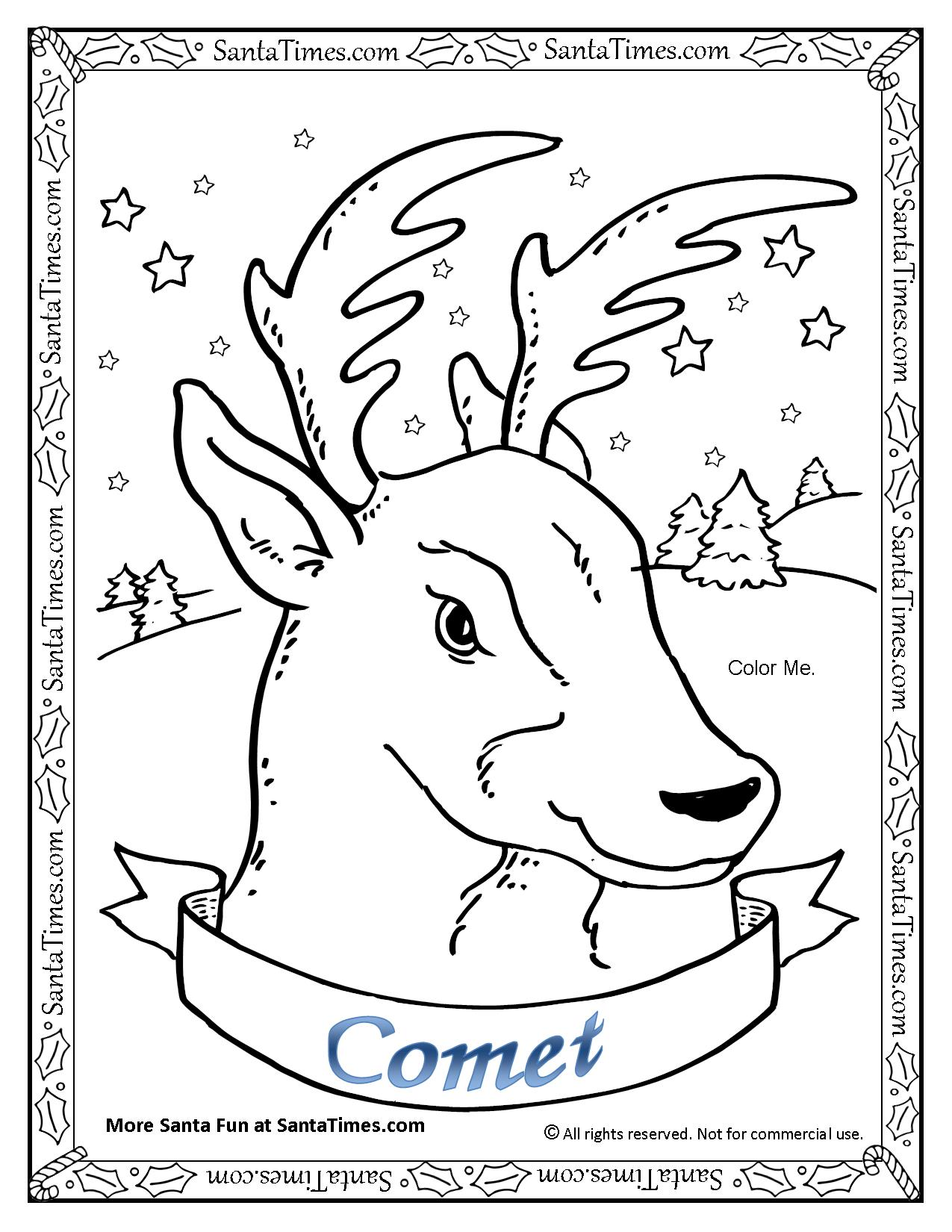 Santa Reindeer Coloring Pages Printable With Comet The