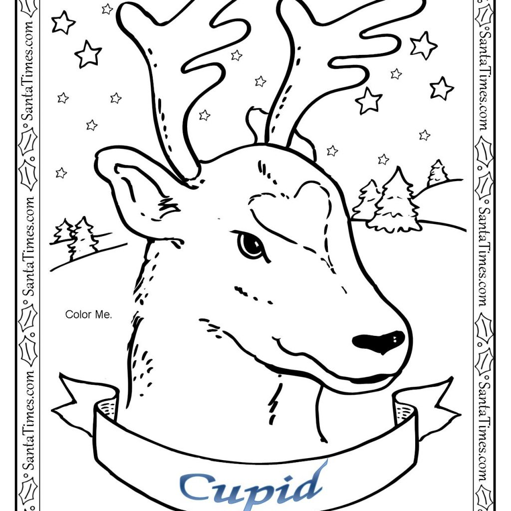Santa Reindeer Coloring Pages Printable With Cupid The