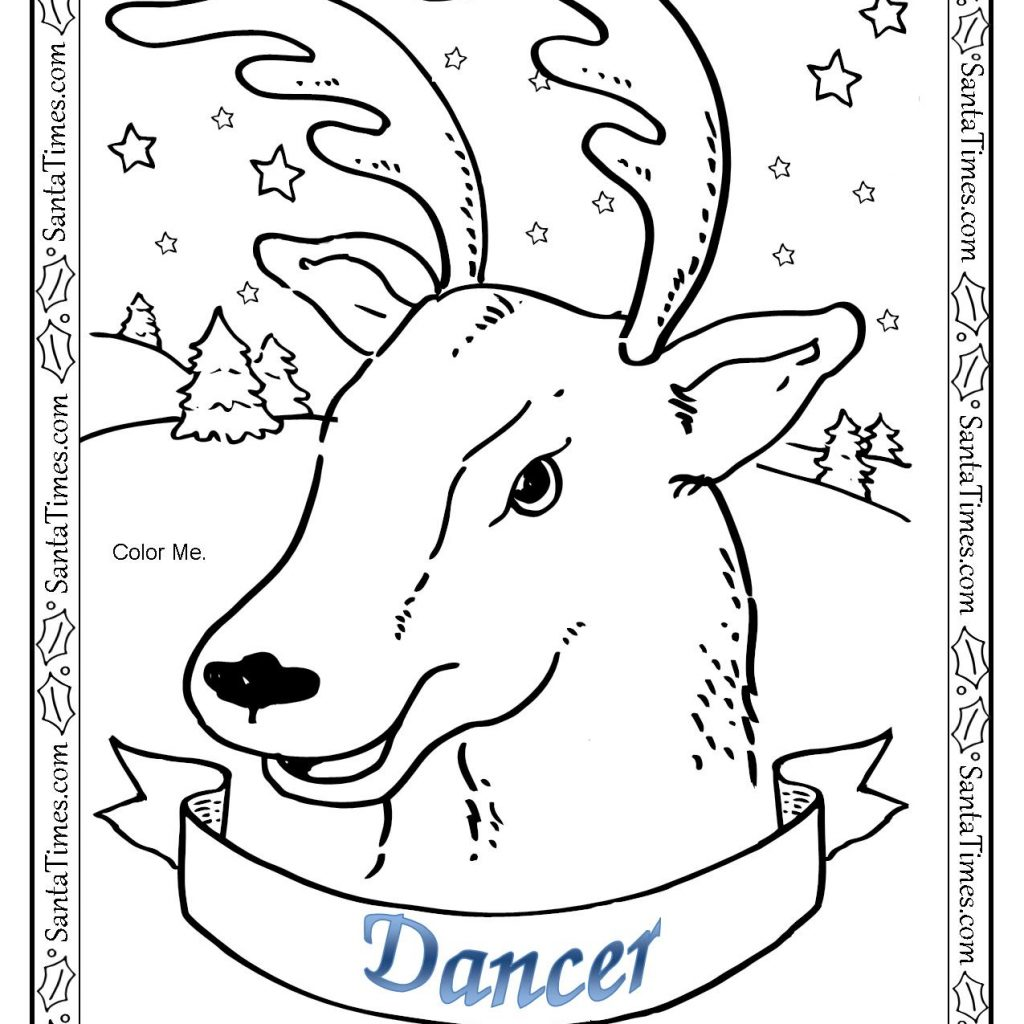 Santa Reindeer Coloring Pages Printable With Cute Christmas Page Free