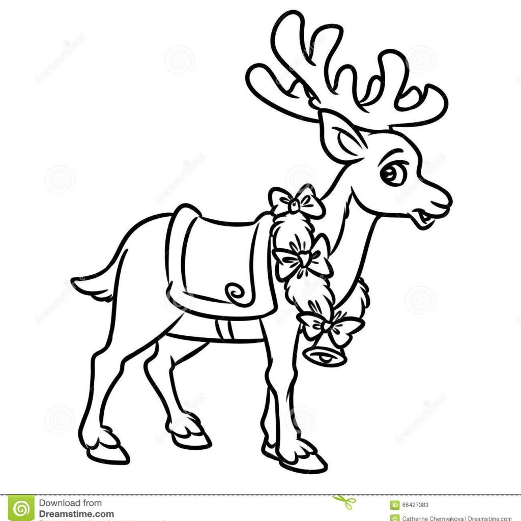 Santa Reindeer Coloring With 20 And Pages Collections FREE COLORING PAGES