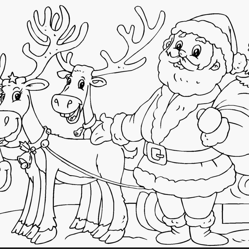 Santa Reindeer Coloring With Pages Claus And His