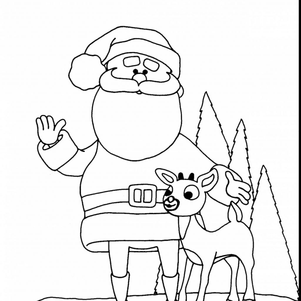 Santa Reindeer Coloring With Rudolph The Red Nosed Pages To Print Free