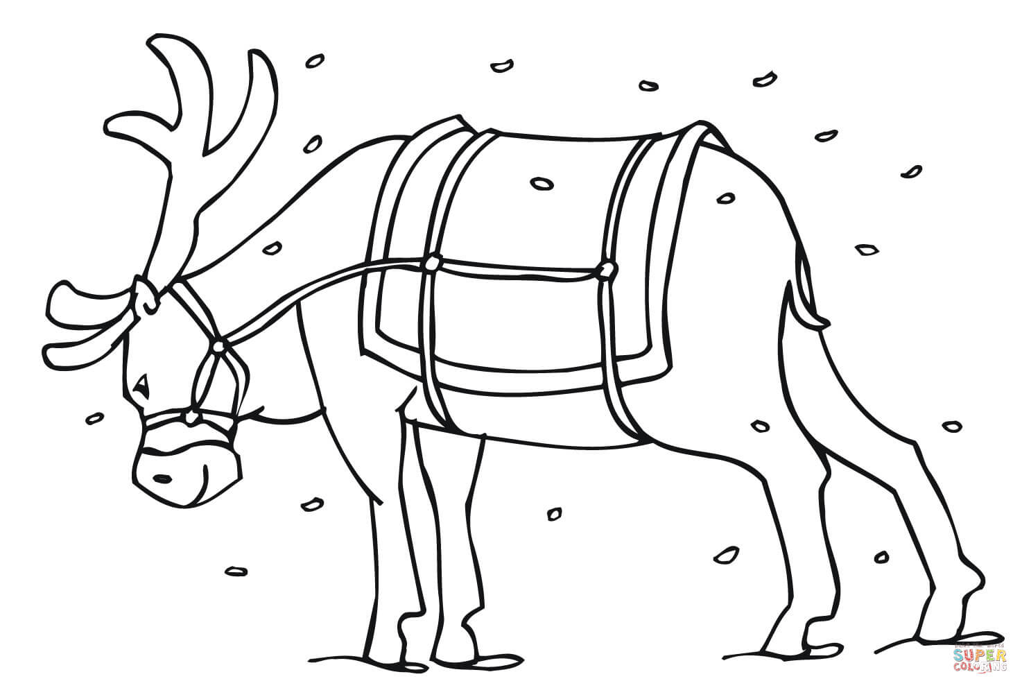 Santa Reindeer Coloring With S Page Free Printable Pages