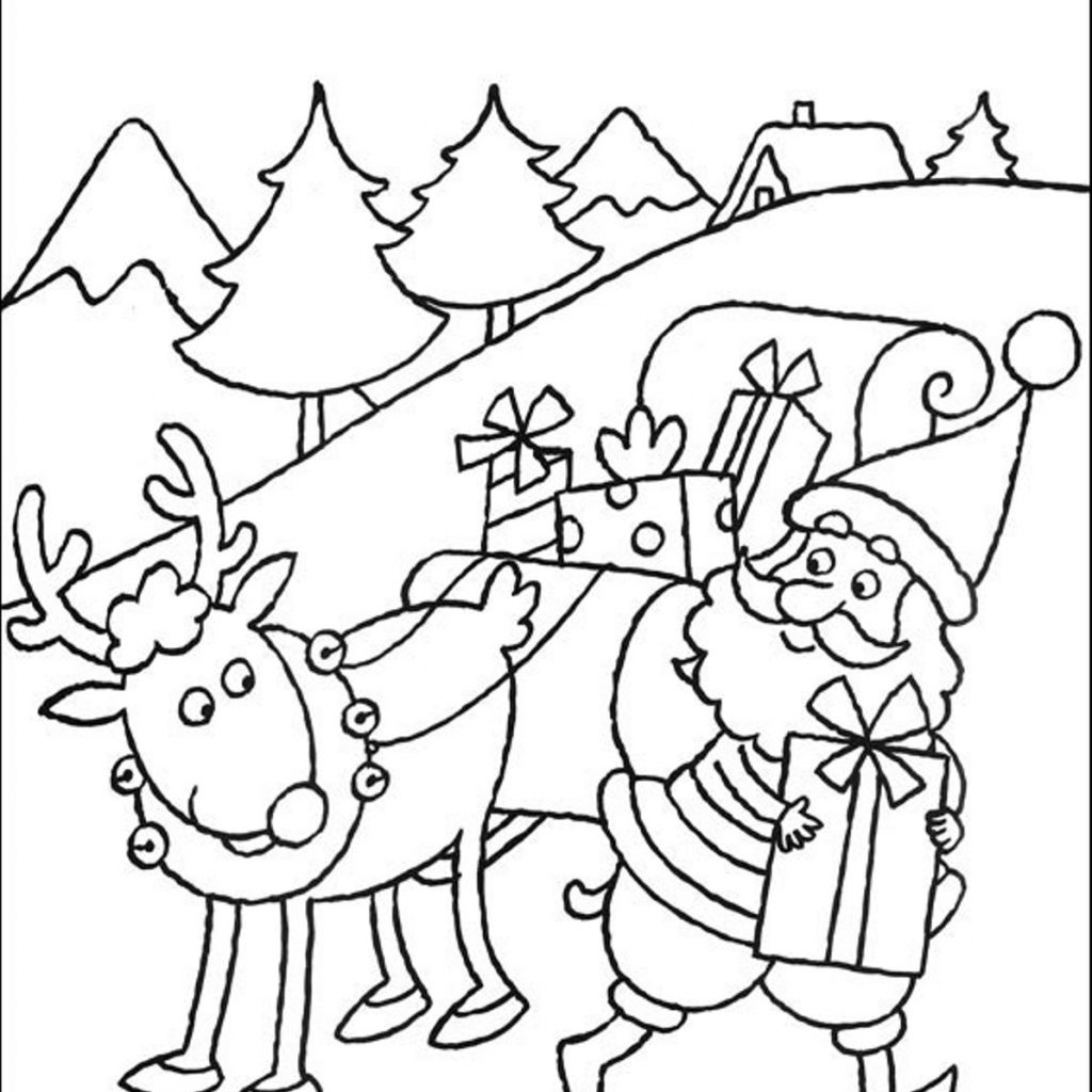 Santa Reindeer Coloring With S Sheets And His Pages Printable