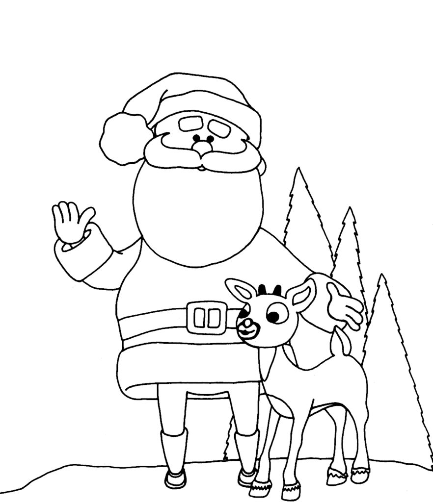 Santa Rudolph Coloring Pages With And Sleigh Page A K B Info