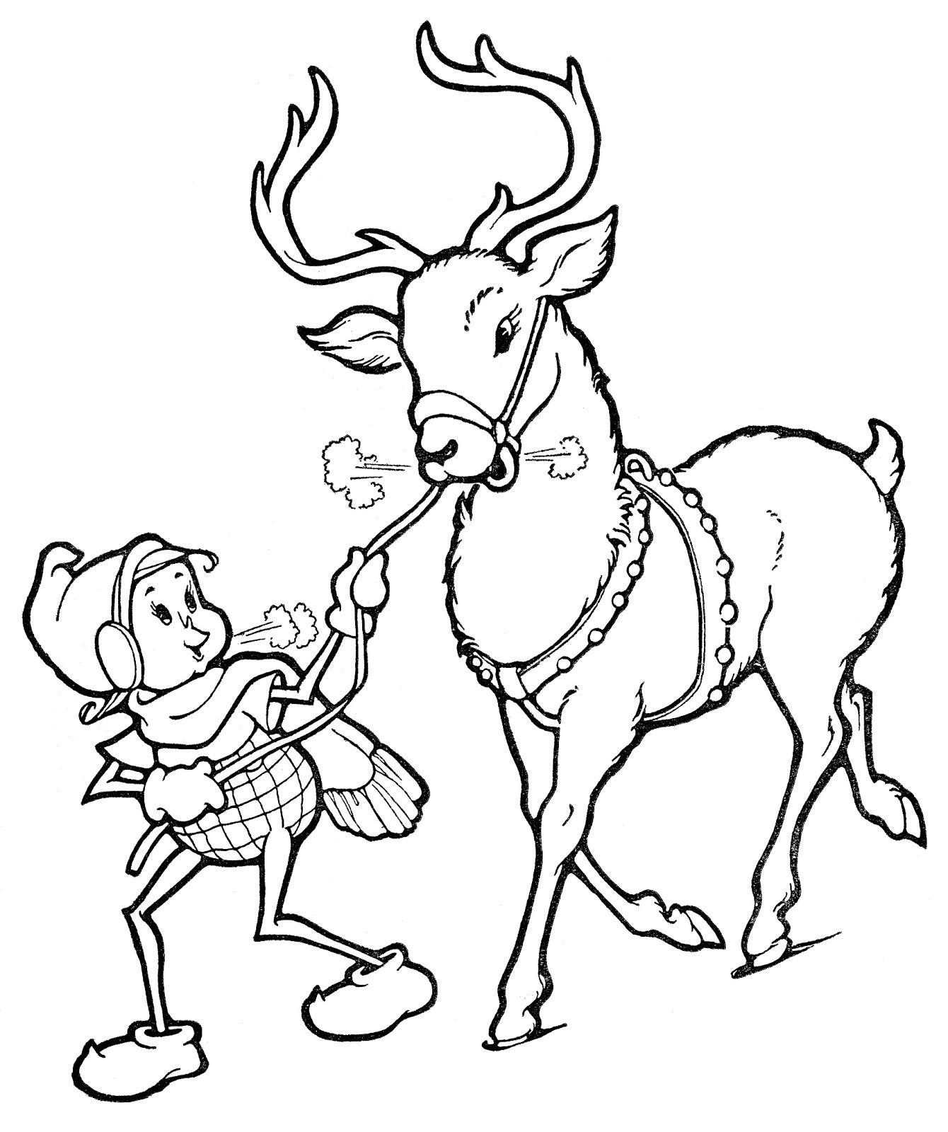 Santa Rudolph Coloring Pages With Fascinating Realistic Reindeer Tested The Red
