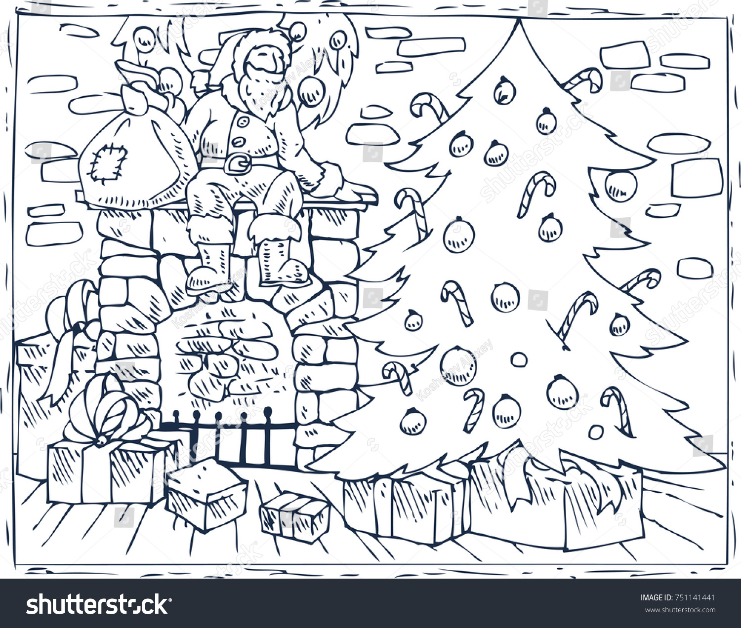 Santa S Christmas Coloring Book With Page Composition Stock Vector Royalty