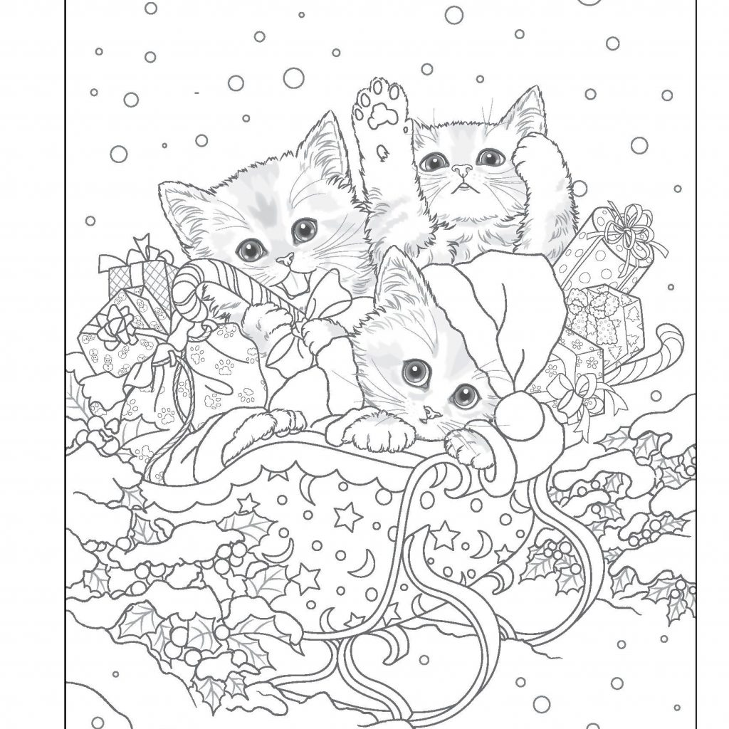 Santa S Christmas Grayscale Coloring Book With Kitty Helpers Holiday Design Originals
