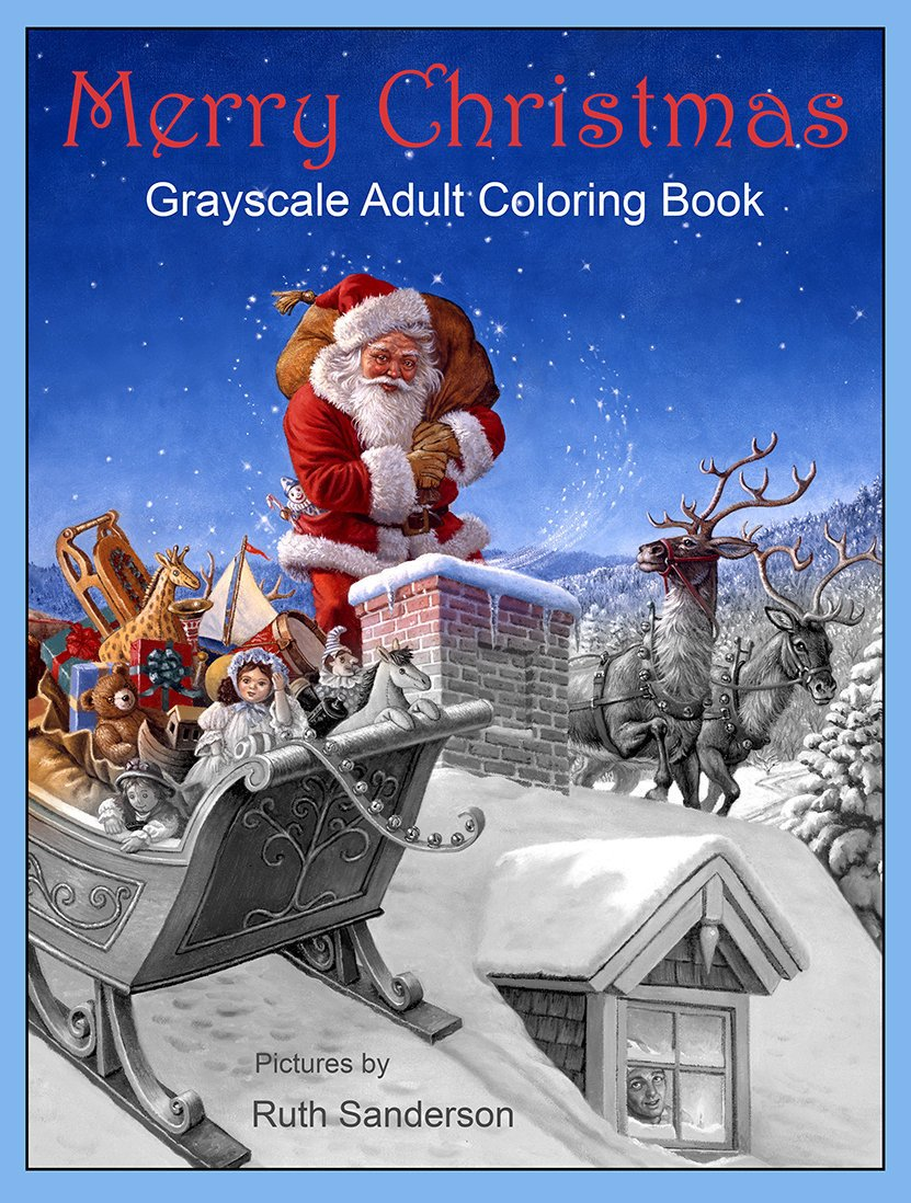Santa S Christmas Grayscale Coloring Book With Merry Adult 36 Image Etsy