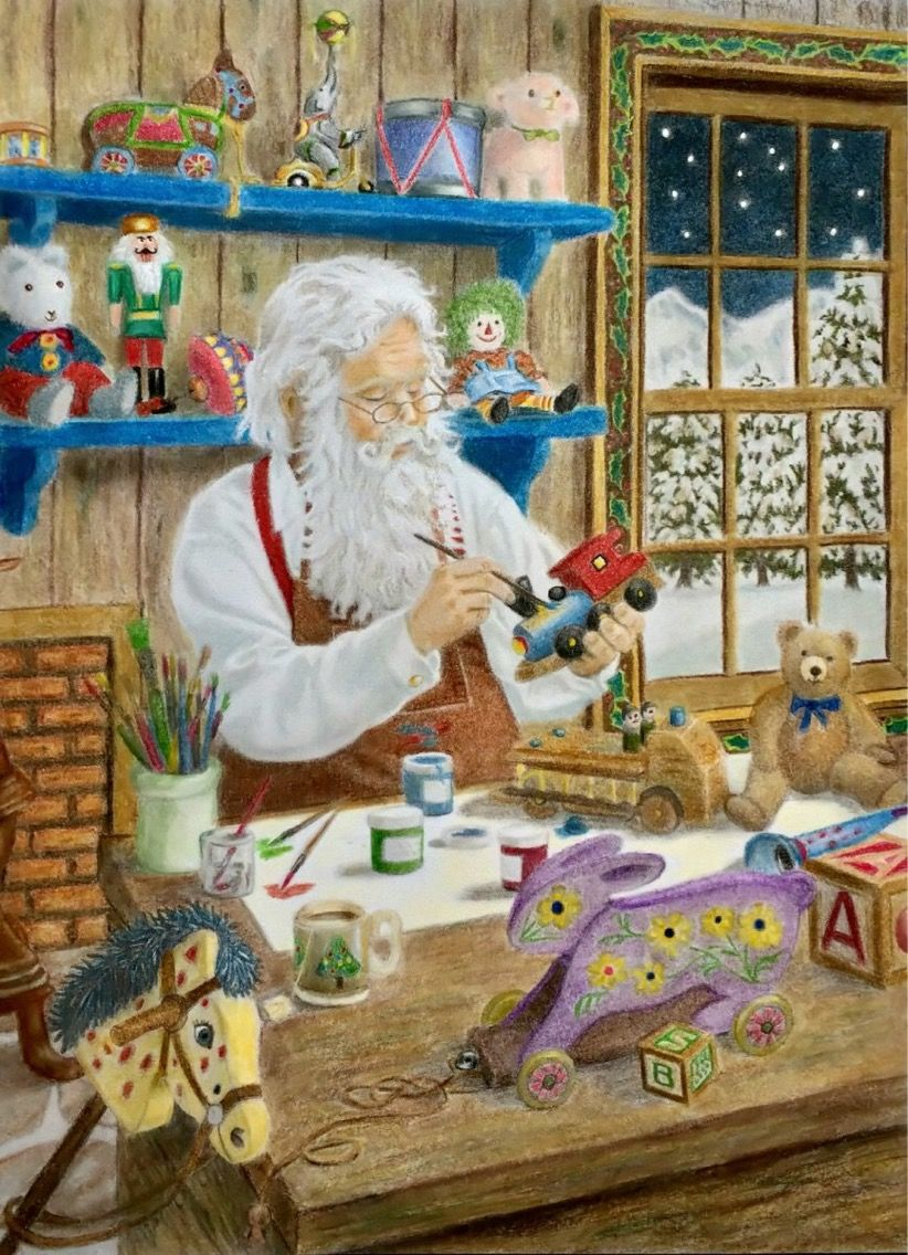 Santa S Christmas Grayscale Coloring Book With Ruth Sanderson Prismacolors Navidad