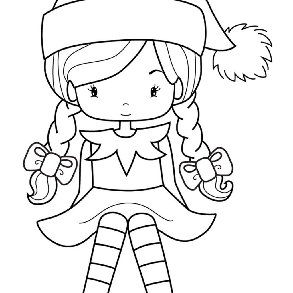 Santa S Elf Coloring Pages Printable With Enf Pinterest Elves Girl And Pictures