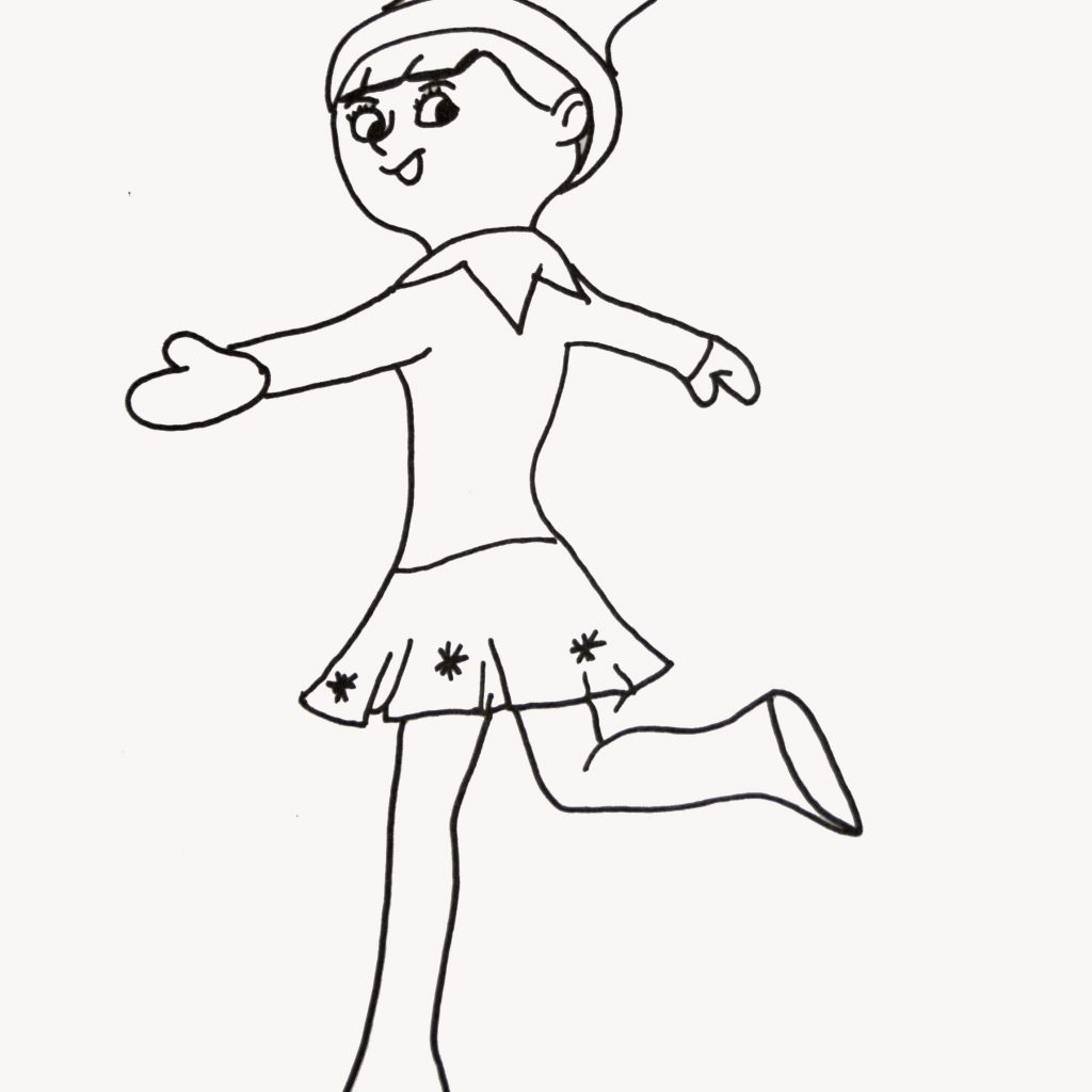 Santa S Elf Coloring Pages Printable With Santas Elves Christmas Page Color