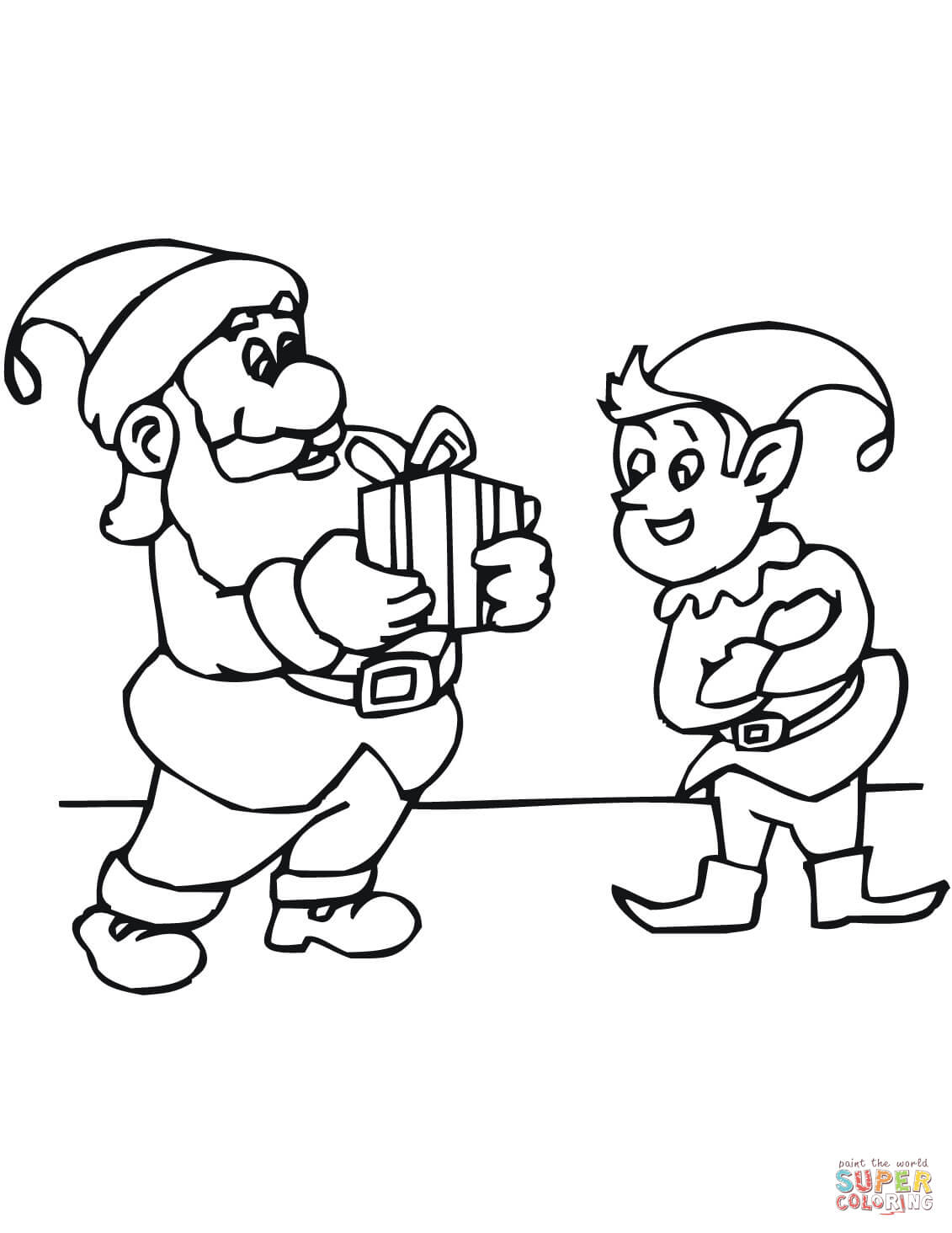 Santa S Elf Colouring Pages With Christmas Elves Coloring Free