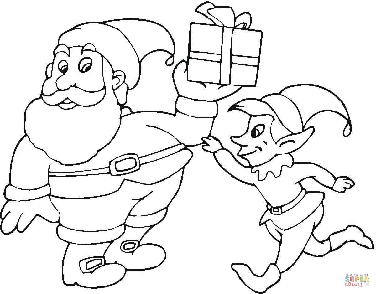 Santa S Elves Coloring Pages With And Elf Page Free Printable