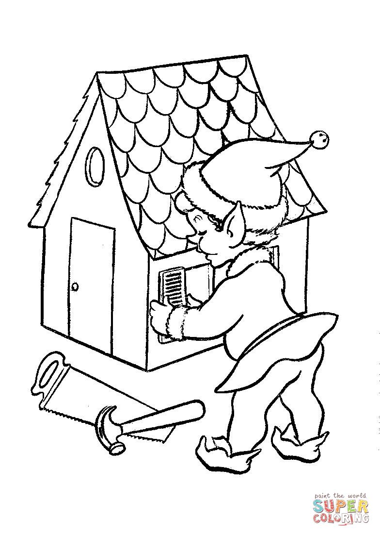 Santa S Elves Coloring Pages With One Of Santas At Work On A Doll House Page Jpg 784