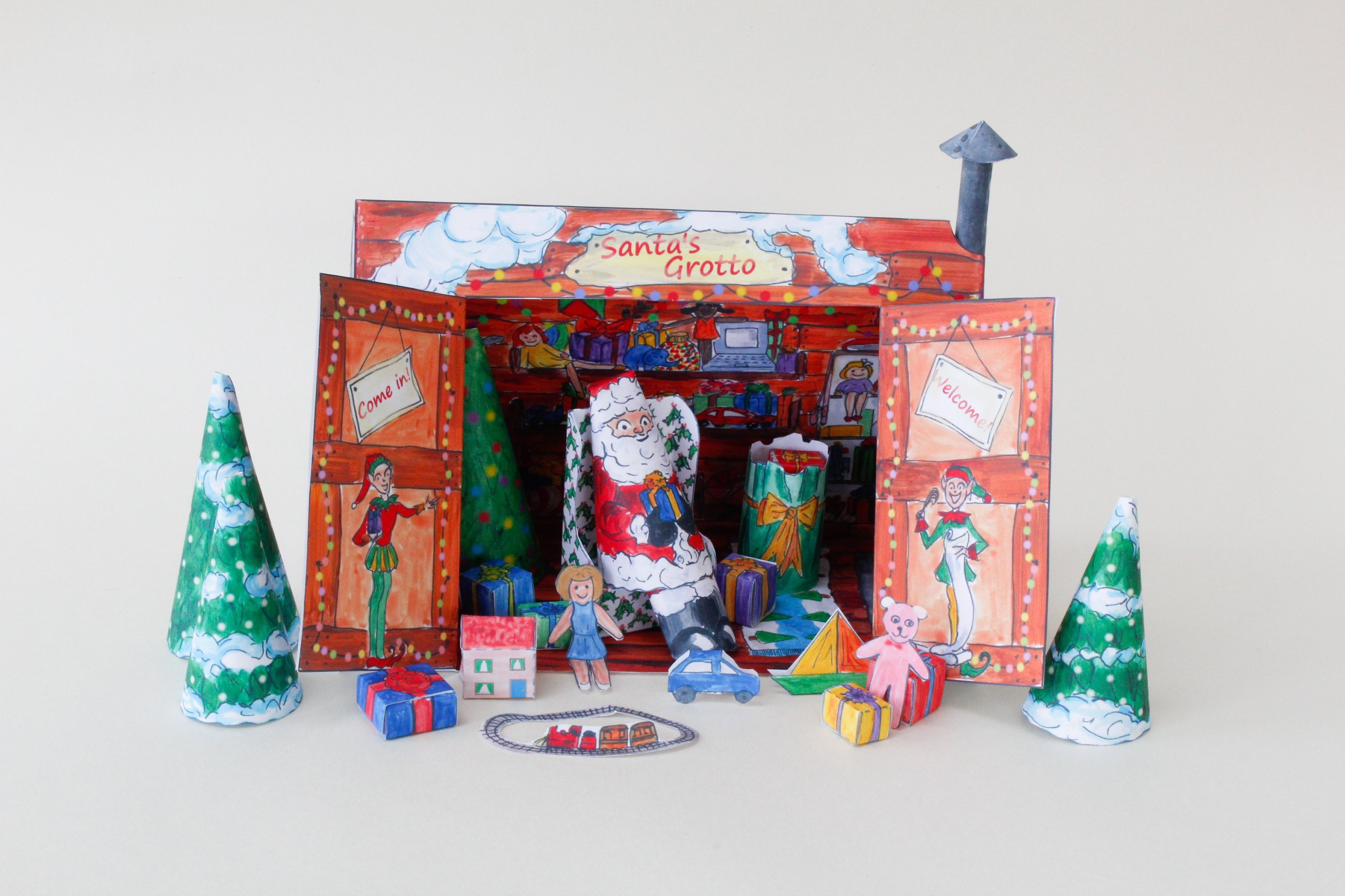 Santa S Grotto Colouring Pages With Christmas Decoration Paper Kit Father Etsy