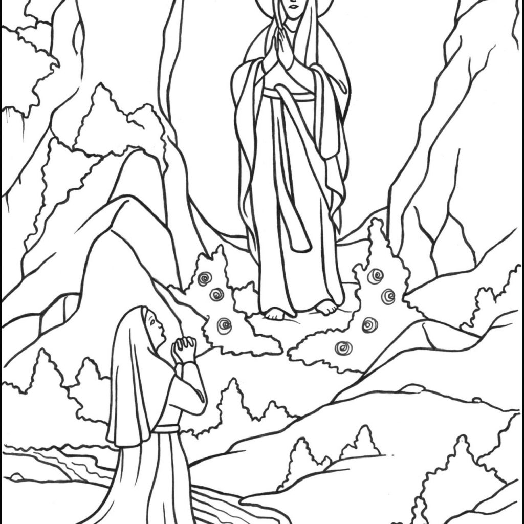 Santa S Grotto Colouring Pages With Our Lady Of Lourdes Coloring Page Catholic For Kids