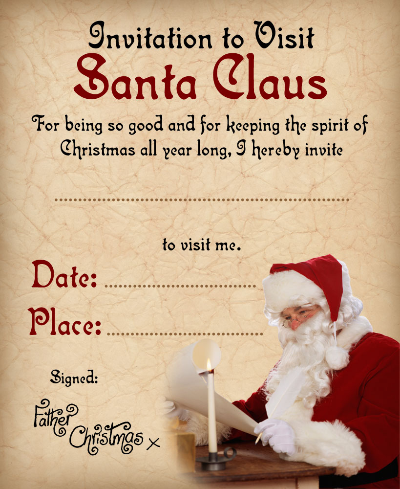 Santa S Grotto Colouring With Invitation To Visit Claus Rooftop Post Printables