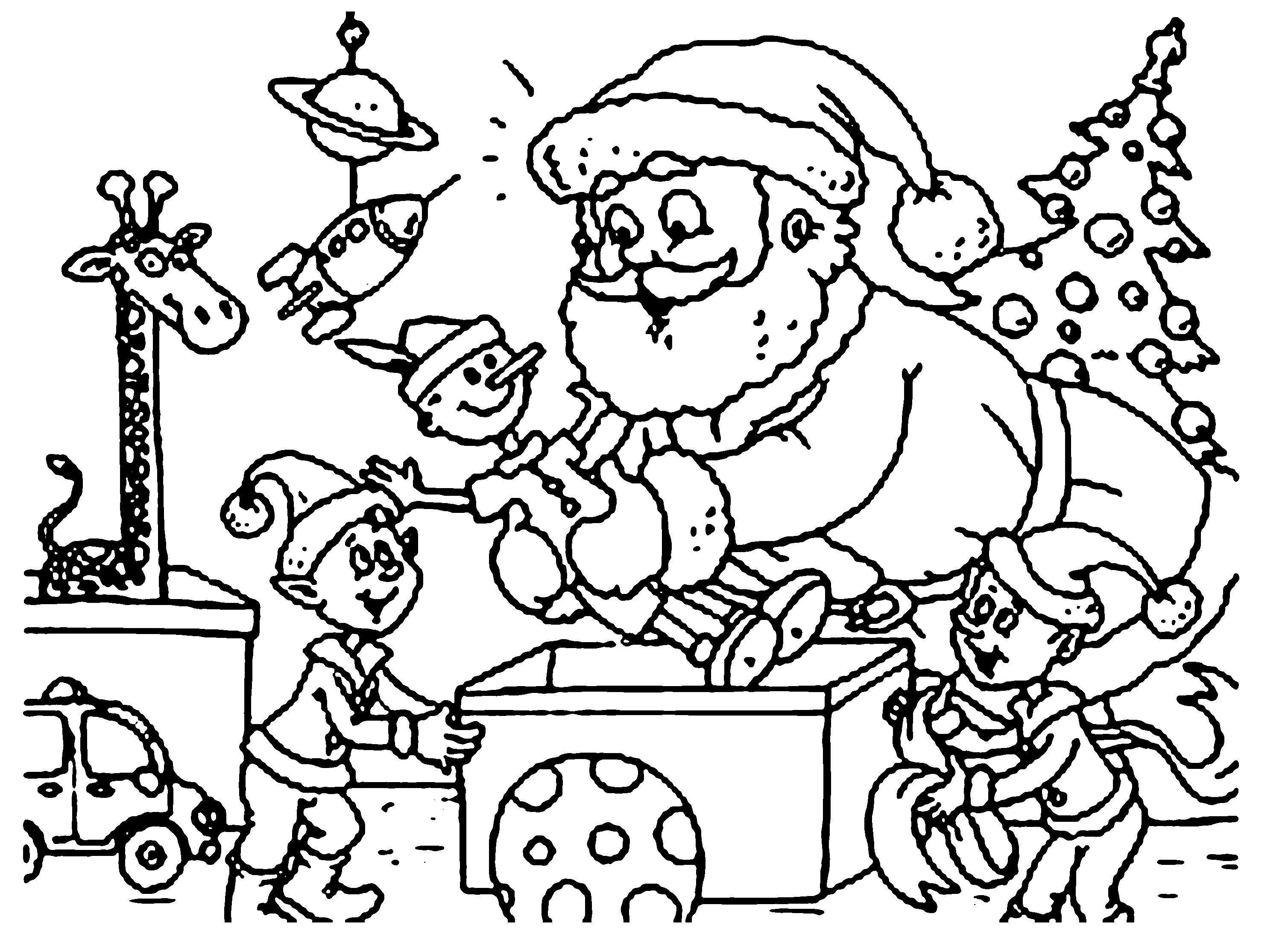 Santa S Helpers Coloring Pages With Claus And Elves