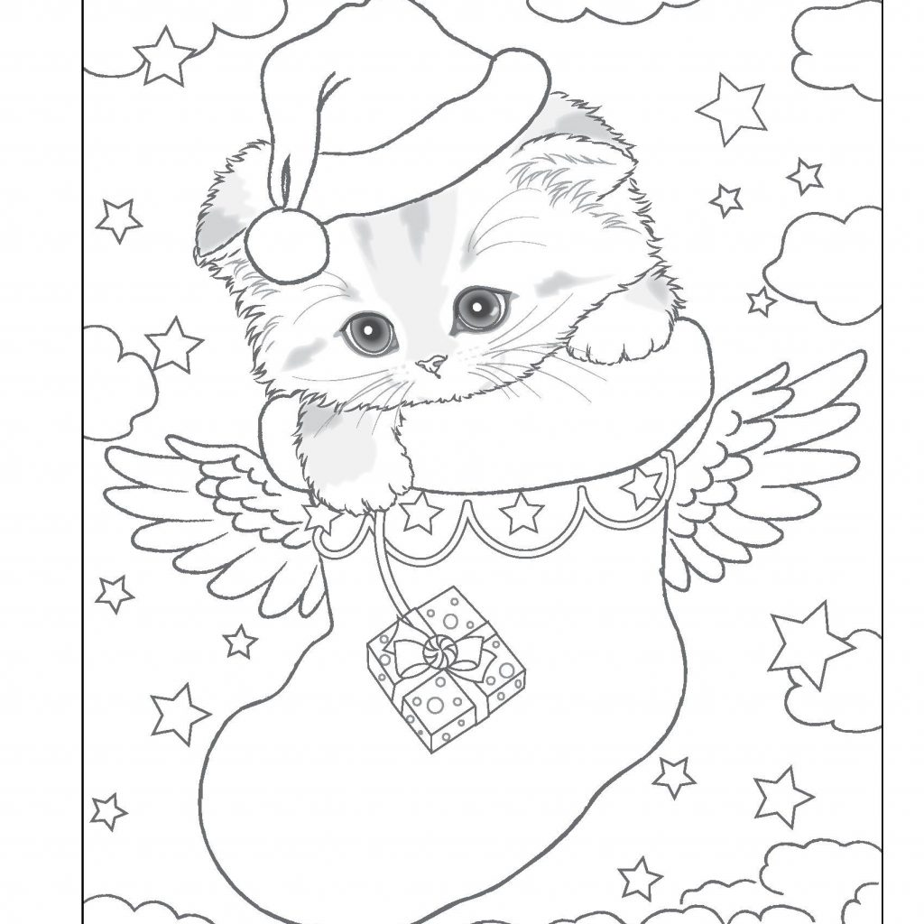 Santa S Helpers Coloring Pages With Kitty Holiday Book Design Originals