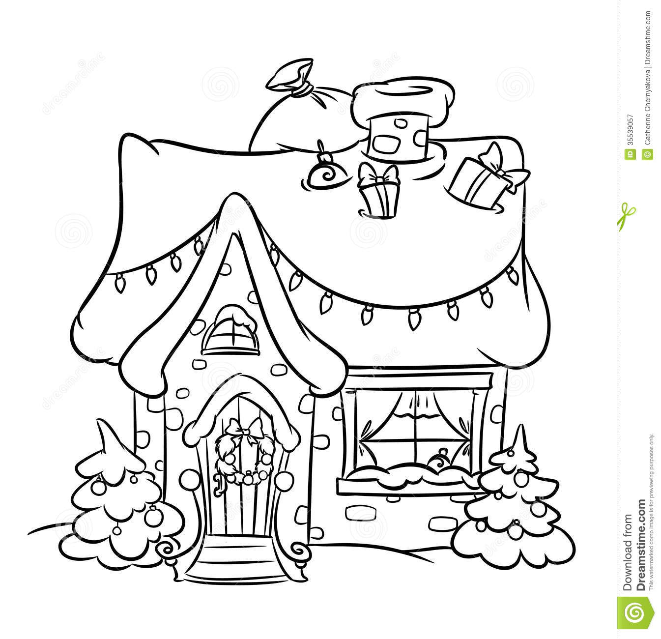 Santa S House Coloring Pages With Christmas Snow Stock Illustration Of Decoration